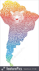 Map If South America Abstract Jaguar On The Map Of South America Illustration