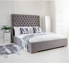 Grey King Size Bed Frame Studs And Buttons Grey Upholstered Bed King Size Beds