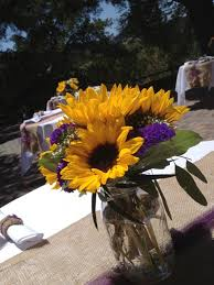 table centerpieces with sunflowers sunflowers in mason jars with burlap table decor burlap wedding