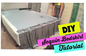 How To Make A Table Skirt by How To Make A Sequin Bedskirt Bedroom On A Budget Youtube