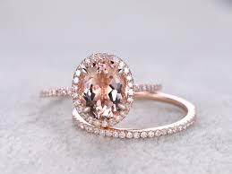 morganite bridal set 7x9mm oval morganite gold wedding set diamond bridal ring 14k