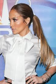 j lo ponytail hairstyles jennifer lopez straight medium brown all over highlights low