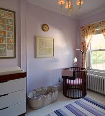Nursery Decoration Bedroom Brown Round Cribs With Sheer Fabric And Rug For Nursery