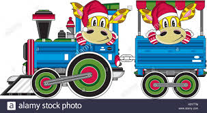 cute cartoon giraffe in santa claus hat driving train vector stock