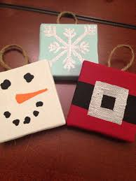 handpainted mini canvas ornaments by ohmgrown on etsy