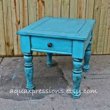 turquoise blue night stand end table side table vintage