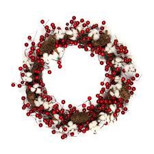 berry wreath cotton berry wreath 18 inch