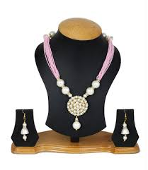 colour pearl necklace images Jewellery expert pink colour pearls necklace set for women at rs jpg