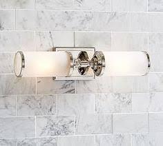 Pottery Barn Bathroom Lighting Pearson Sconce Double Chrome Finish Chrome Finish Powder Room