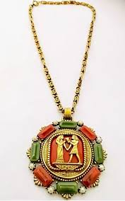 ebay necklace images Vintage bakelite egyptian medallion gold tone necklace pinterest jpg