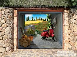 outdoor stylish garage door decals near red vespa along with