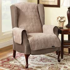 furniture wing chair using quilt slipcover plus brown wooden