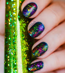 phd nails nail art with colorful foil stamping fireworks