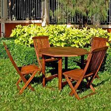 Folding Patio Dining Set Shop International Caravan 5 Piece Acacia Patio Dining Set At