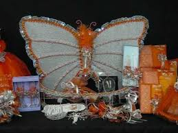 centerpieces for quinceanera quinceanera centerpieces butterfly theme orange silver