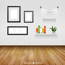 Interior Room With Wall Frames And Shelves Vector Free Download - Home interior shelves