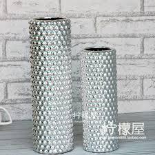 Silver Vase Lemon House European Style Silver Vase Vase Flower Beads Ceramic