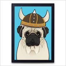 colour prints u2013 seloy the viking pug sketch your pet