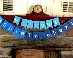 Welcome Baby Home Decorations Light Blue Grey And White Baby Shower Banner Welcome Baby