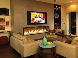 cream colored leather sofa with electric fireplace for modern