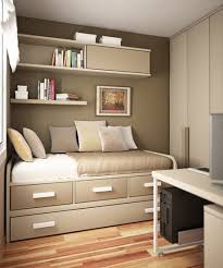perfect storage solution in small modern bedroom with nice drawers