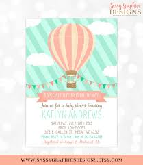 air balloon baby shower invitation mint coral baby shower