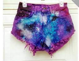 shorts blue nebula color shorts pink galaxy print purple