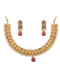 gold choker necklace set images Buy belsi 39 s jewellery ethnic jewellery set gold plated multicolor jpg