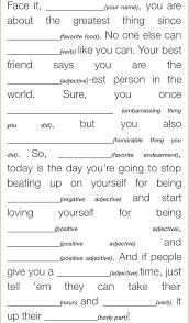 self esteem mad lib journals pinterest self esteem