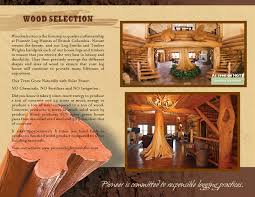 company brochure log home and log cabin builders pioneer log