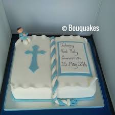 boy first communion cake bouquakes