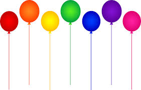 seven rainbow birthday balloons free clip