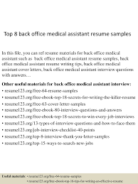 How To Write A Medical Assistant Resume Back Office Medical Assistant Resume Resume For Your Job Application