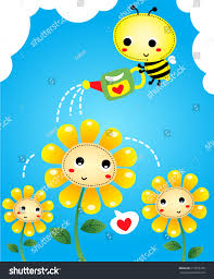 little bee watering flowers watering can stock vector 217256776