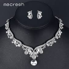 rhinestone necklace sets images Mecresh crystal wedding jewelry sets for women silver color leaf jpg