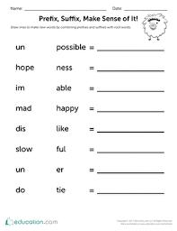 prefix suffix make sense of it worksheet education com
