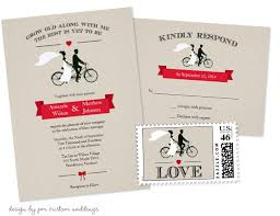 bicycle wedding invitations with matching rsvp cards and postage