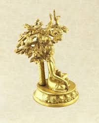 intricate hand carved brass bodhi tree buddha statue sivalya
