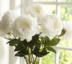 faux peonies faux peony stem white pottery barn