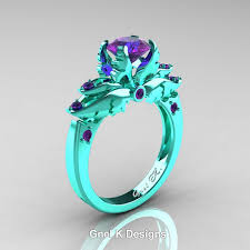 turquoise and wedding ring classic 14k turquoise gold 1 0 ct amethyst solitaire