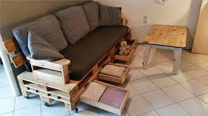Sofa Bed With Storage Drawer Pallet Sofa Plan With Drawers Diy Tutorial 99 Pallets
