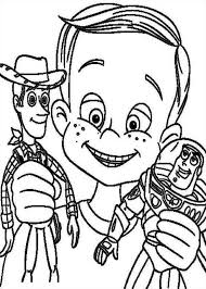 andy davis holding woody buzz toy story coloring