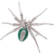 spider pin brooch halloween costume jewelry rhinestone crystal