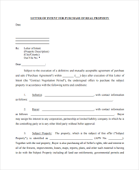 sample letter of intent to purchase property 8 free documents