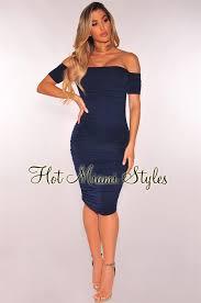 navy blue dress blue ruched shoulder dress