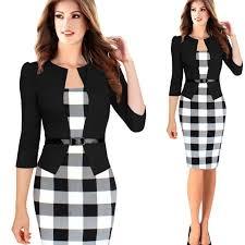 generic 3 4 sleeve women office dress plus size faux jacket one