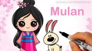 draw chibi mulan step step cute disney princess