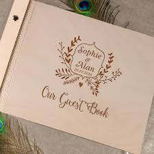 engraved wedding guest book modern guestbook wood guestbook wooden wedding guest book