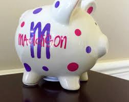 Monogrammed Piggy Bank Alcancía Personalizada Niños Piggy Bank Alcancias Decoradas