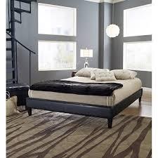 premier elite faux leather queen black platform bed frame